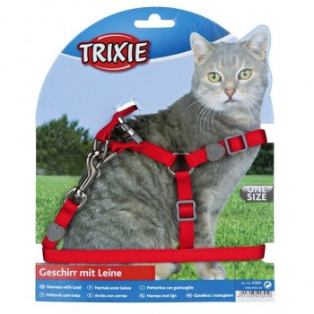 Trixie / Трикси Шлейка с поводком для кошки Premium, нейлон