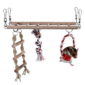 Trixie / Трикси Лестница для хомяка подвесная двойная с верёвкой 27,5 х 10,5 х 16см, дерево