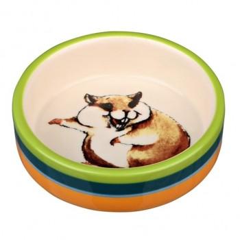 Trixie / Трикси Миска керамическая для хомяков, 80 мл/ 8 см, разноцветная/кремовая