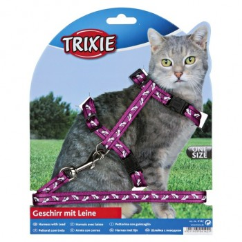 Trixie / Трикси Шлейка с поводком для кошки 35-45 см/10 мм/1.20 м, нейлон с рисунком