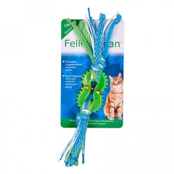 Feline Clean / Фелин Клин игрушка для кошек Dental Колечко прорезыватель с лентами, резина