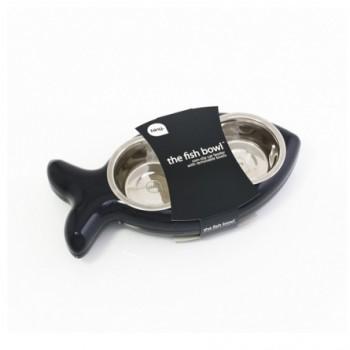 Hing / Хинг Миски на подставке Рыбка, нержав, 2шт*350мл (Англия), 8*20,5*40,5см, черный
