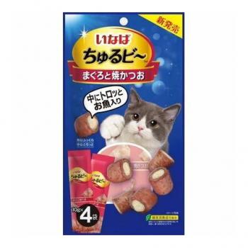 Inaba Чуру-Би запеч.трубочки для кошек из тунца бонито с пюре тунец, 40 гр