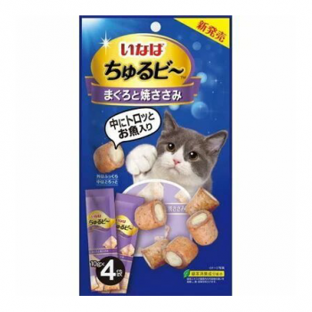 Inaba Чуру-Би запеч.трубочки для кошек из курицы с пюре желт.тунца, 40 гр