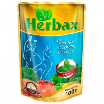 Herbax / Хербакс ПАУЧ д/кошек рыбное ассорти в соусе с мятой 100 гр
