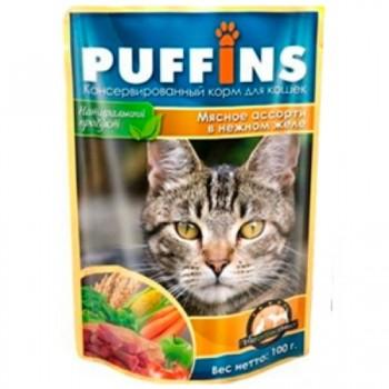Puffins / Пуффинс ПАУЧ д/кошек Мясное ассорти в желе 100 гр