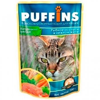 Puffins / Пуффинс ПАУЧ д/кошек Рыбное ассорти в желе 100 гр