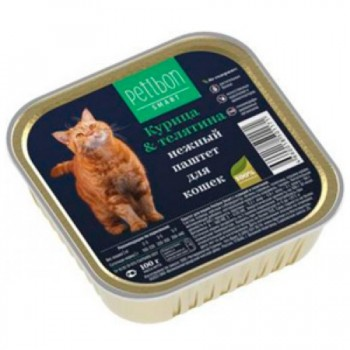 Petibon / Петибон Smart Паштет д/кошек с курицей и телятиной 100 гр
