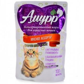 Амурр ПАУЧ д/кошек кусочки мяса в желе со вкусом мясного ассорти 100 гр