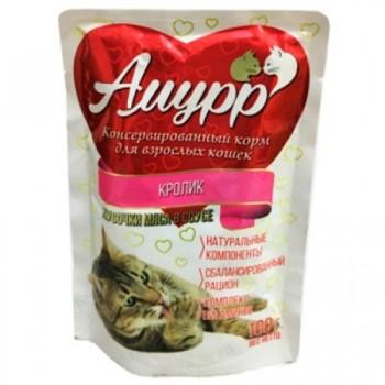 Амурр ПАУЧ д/кошек кусочки мяса в соусе со вкусом кролика 100 гр