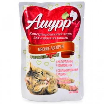Амурр ПАУЧ д/кошек кусочки мяса в соусе со вкусом мясного ассорти 100 гр
