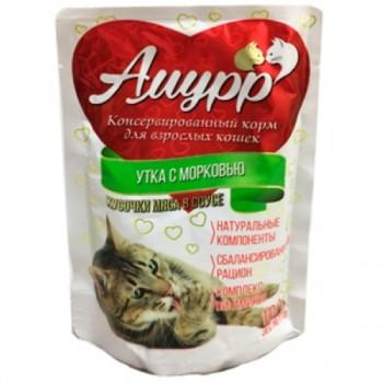 Амурр ПАУЧ д/кошек кусочки мяса в соусе со вкусом утки с морковью 100 гр