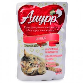 Амурр ПАУЧ д/кошек кусочки мяса в соусе со вкусом ягненка 100 гр