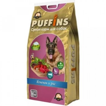 Puffins / Пуффинс сух.корм д/собак Ягненок и рис 15 кг
