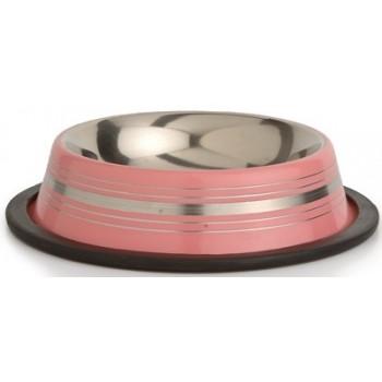 Beeztees / Бизтис 653736 Миска д/кошек стальная нескользящая розовая в полосочку 180мл*11см