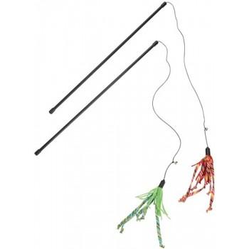 Beeztees / Бизтис 430411 Игрушка д/кошек Удочка с полосатыми хвостиками, в ассорт. 50см