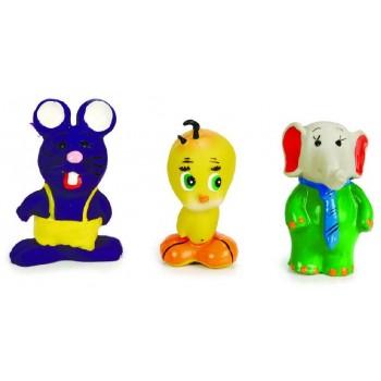 """Beeztees / Бизтис 001051 Набор игрушек д/собак """"Пищащие зверюшки: слоник, цыпа, фиолетовая мышь"""" латекс 8-10 см"""