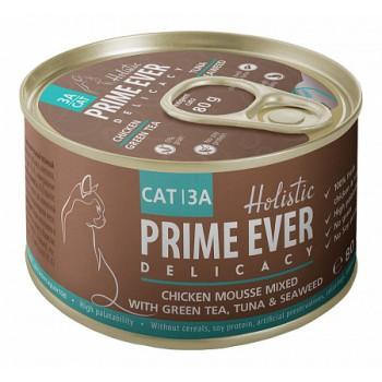 Prime Ever / Прайм Евер Конс. д/кошек 3A Delicacy Мусс цыпленок с тунцом с зеленым чаем и водорослями 80 гр
