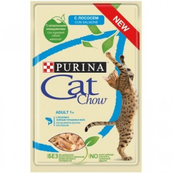 Cat Chow / Кэт Чау конс д/котят кусочки в желе лосось, 5*85 гр