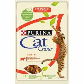 Cat Chow / Кэт Чау конс д/котят кусочки в желе говядина, 5*85 гр