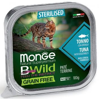 Monge / Монж Cat BWild GRAIN FREE беззерновые консервы из тунца с овощами для стерилизованных кошек 100г