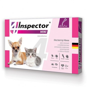 Inspector / Инспектор Мини Капли д/кошек и собак от 0,5-2 кг внешних и внутренних паразитов