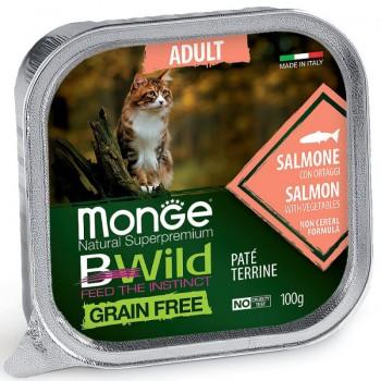 Monge / Монж Cat BWild GRAIN FREE беззерновые консервы из лосося с овощами для взрослых кошек 100г
