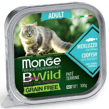 Monge / Монж Cat BWild GRAIN FREE беззерновые консервы из трески с овощами для взрослых кошек 100г