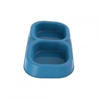 Bama Pet миска пластиковая двойная 154 мл, голубая
