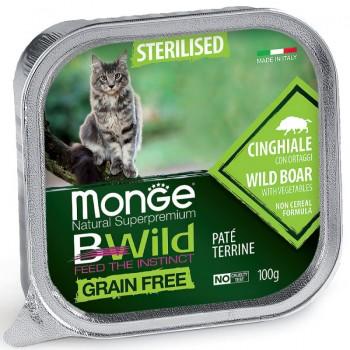 Monge / Монж Cat BWild GRAIN FREE беззерновые консервы из кабана с овощами для стерилизованных кошек 100г