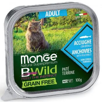 Monge / Монж Cat BWild GRAIN FREE беззерновые консервы из анчоусов с овощами для взрослых кошек 100г