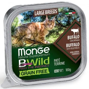 Monge / Монж Cat BWild GRAIN FREE беззерновые консервы из буйвола с овощами для кошек крупных пород 100г