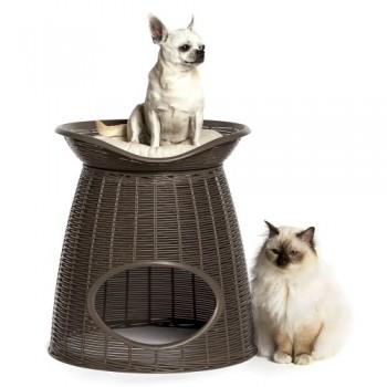 Bama Pet домик для кошек PASHA 52х60х46/55h см, с подушечками, светло-коричневый/бежевый