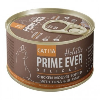 Prime Ever / Прайм Евер Конс. д/кошек 1A Delicacy Мусс цыпленок с тунцом и креветками 80 гр