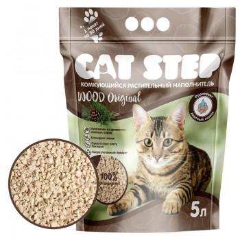 Cat Step / Кэт Степ Наполнитель комкующийся растительный Wood Original, 5 л