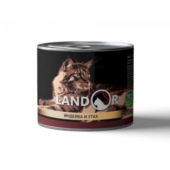 Landor / Ландор влажный корм для взрослых кошек индейка с уткой 0,2 кг