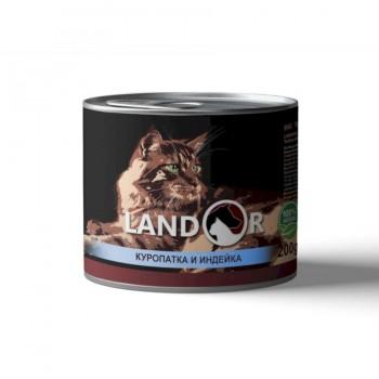 Landor / Ландор влажный корм для взрослых кошек куропатка с индейкой 0,2 кг