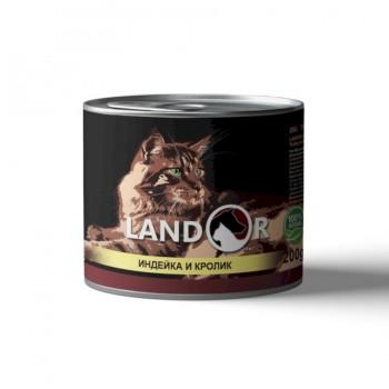 Landor / Ландор влажный корм для взрослых кошек индейка с кроликом 0,2 кг