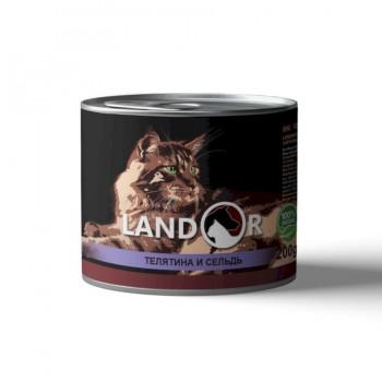 Landor / Ландор влажный корм для пожилых кошек телятина с сельдью 0,2 кг