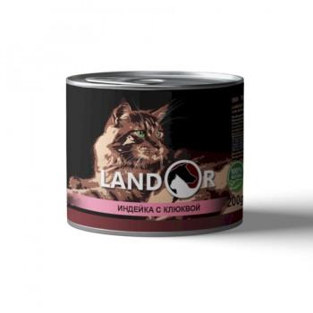 Landor / Ландор влажный корм для стерилизованных взрослых кошек индейка с клюквой 0,2 кг