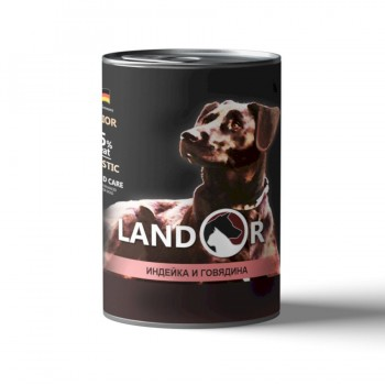 Landor / Ландор влажный корм для щенков всех пород индейка с говядиной 0,4 кг