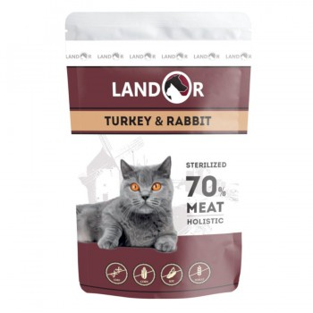 Landor / Ландор влажный корм для стерилизованных взрослых кошек индейка с кроликом 0,085 кг