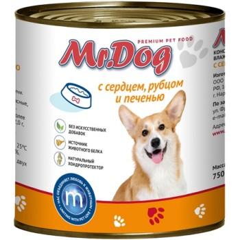 Мистер Дог кон.д/собак с Сердцем, рубцом и печенью 750 гр