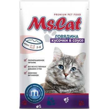 Мисс Кэт пауч д/кошек кусочки с Говядиной в соусе 85 гр
