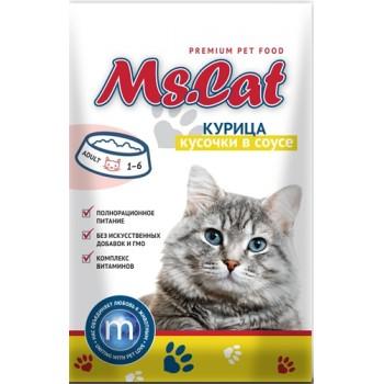 Мисс Кэт пауч д/кошек кусочки с Курицей в соусе 85 гр
