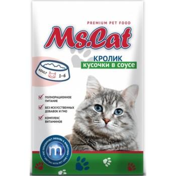 Мисс Кэт пауч д/кошек кусочки с Кроликом в соусе 85 гр