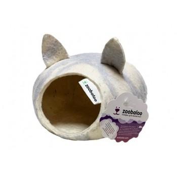 ZooBaloo Домик для грызунов с ушками (шерсть, форма круг, серый) L: 25х25х15 см