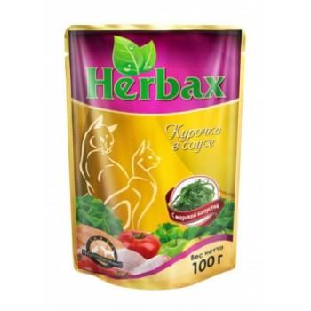 Herbax / Хербакс ПАУЧ д/кошек курочка в соусе с морской капустой 100 гр