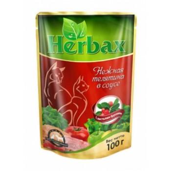 Herbax / Хербакс ПАУЧ д/кошек нежная телятина в соусе с листьями брусники 100 гр