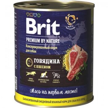 Brit / Брит Консервы для собак Premium by Nature с говядиной и пшеном, 80 гр
